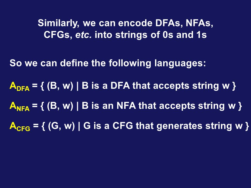 Similarly, we can encode DFAs, NFAs, CFGs, etc