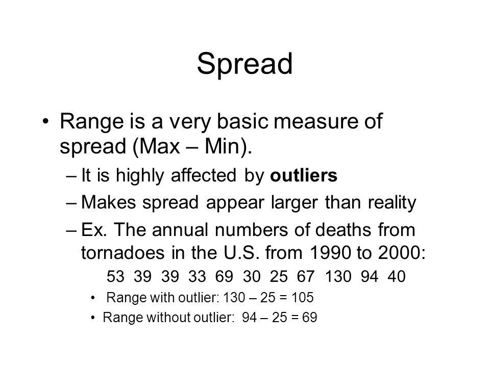 Spread Range is a very basic measure of spread (Max – Min).