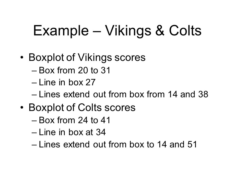 Example – Vikings & Colts