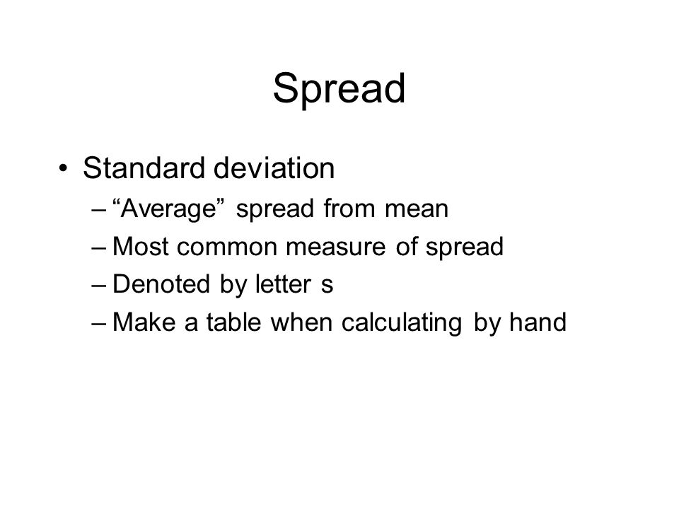 Spread Standard deviation Average spread from mean