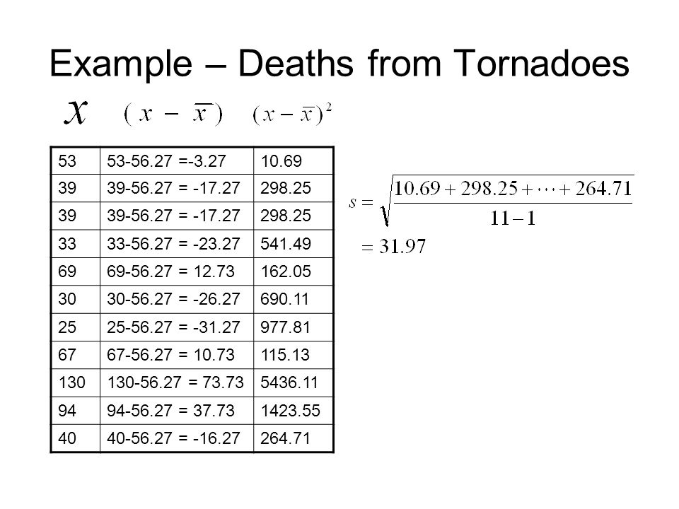 Example – Deaths from Tornadoes