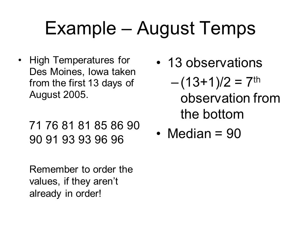 Example – August Temps 13 observations