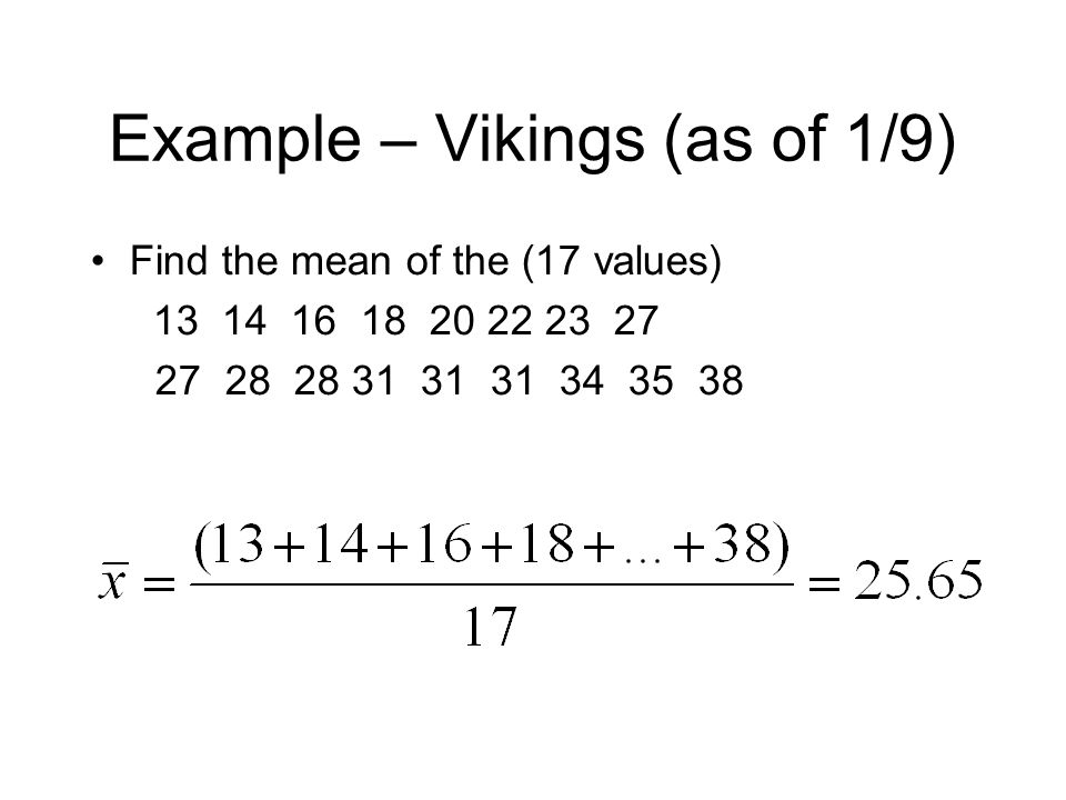 Example – Vikings (as of 1/9)