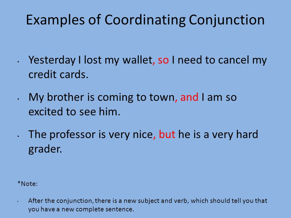 Examples of Coordinating Conjunction
