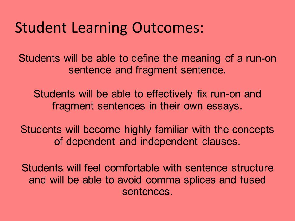 Student Learning Outcomes: