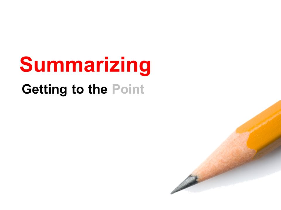 Summarizing Getting to the Point