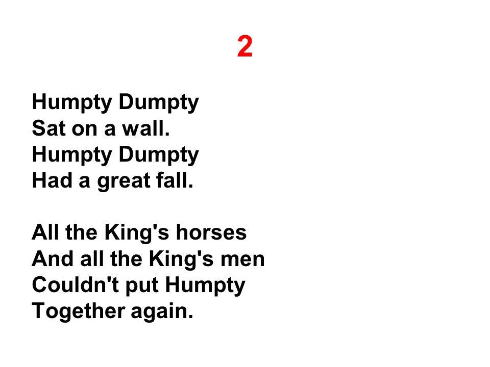 2 Humpty Dumpty Sat on a wall. Humpty Dumpty Had a great fall.