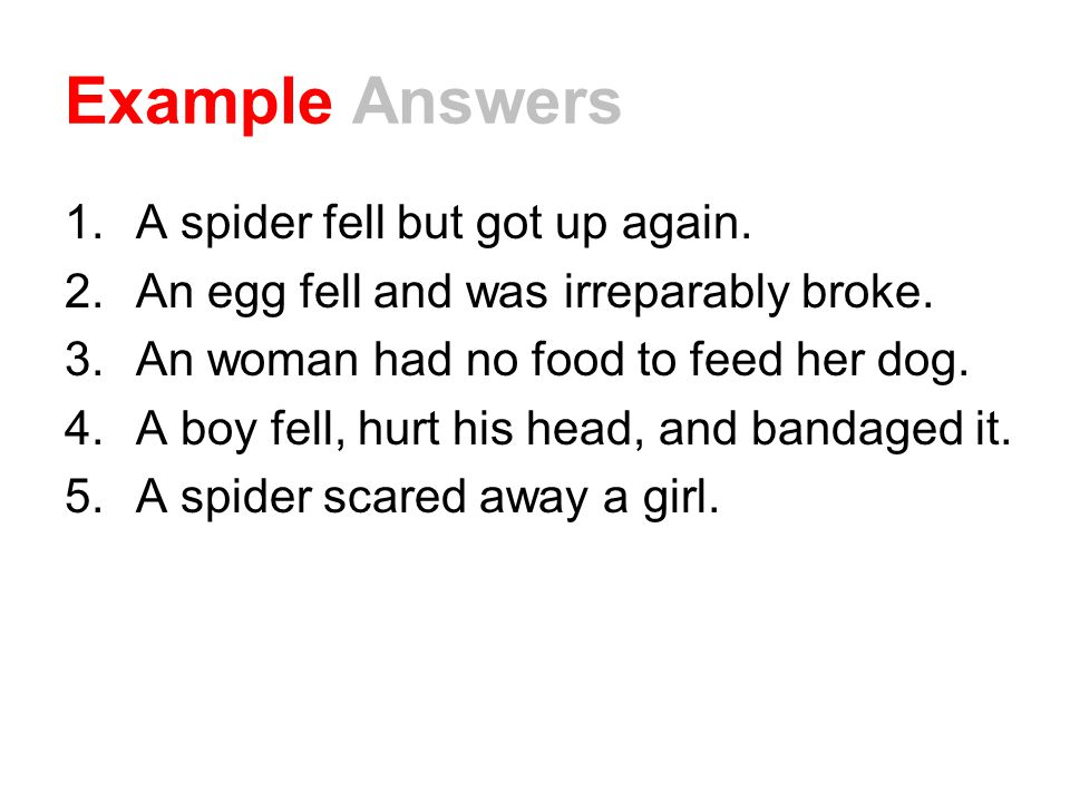 Example Answers A spider fell but got up again.