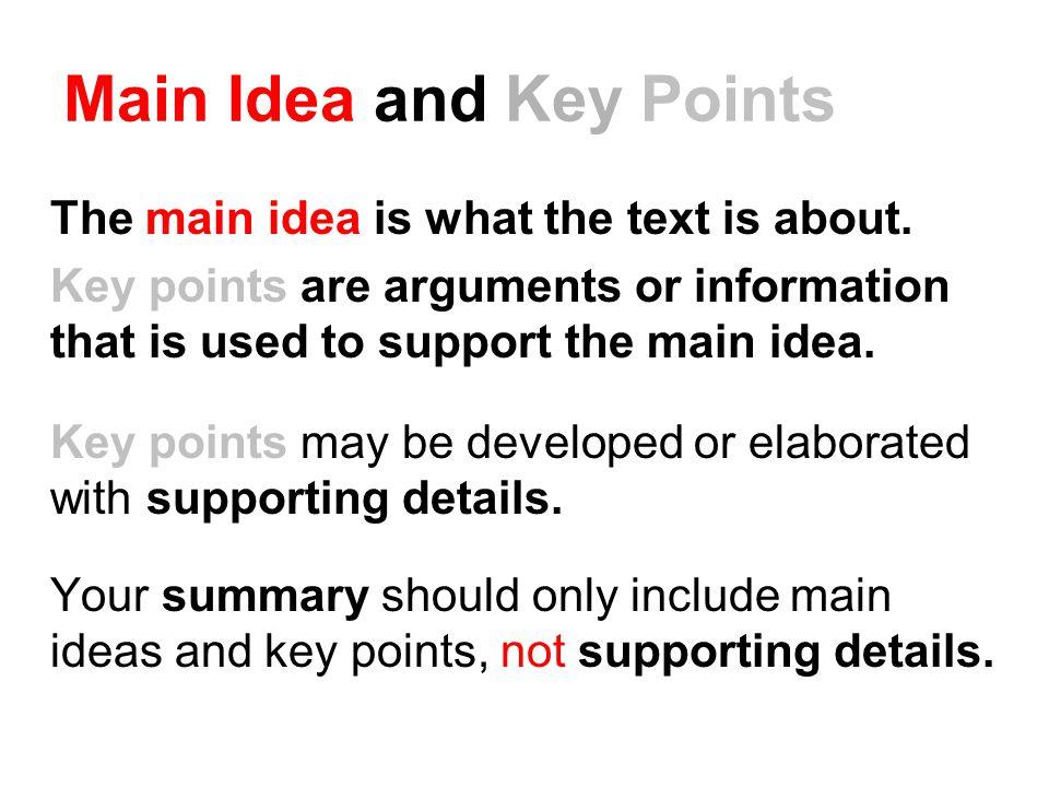 Main Idea and Key Points
