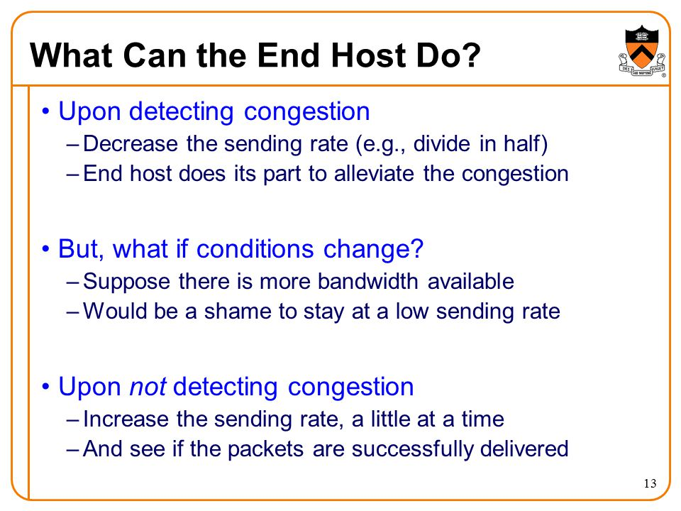 What Can the End Host Do Upon detecting congestion