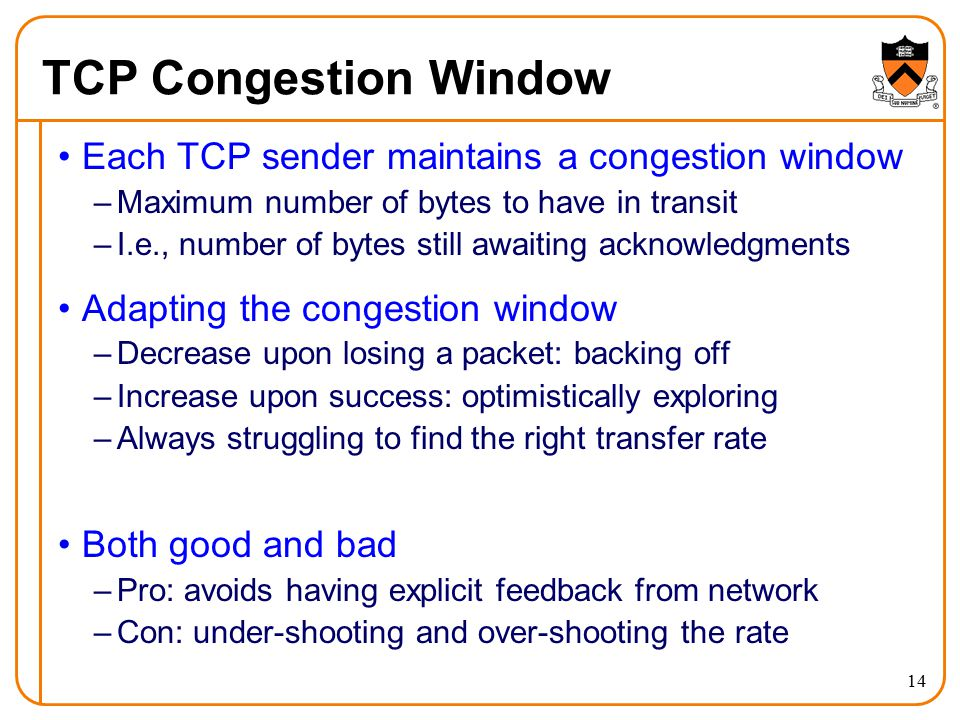 TCP Congestion Window Each TCP sender maintains a congestion window