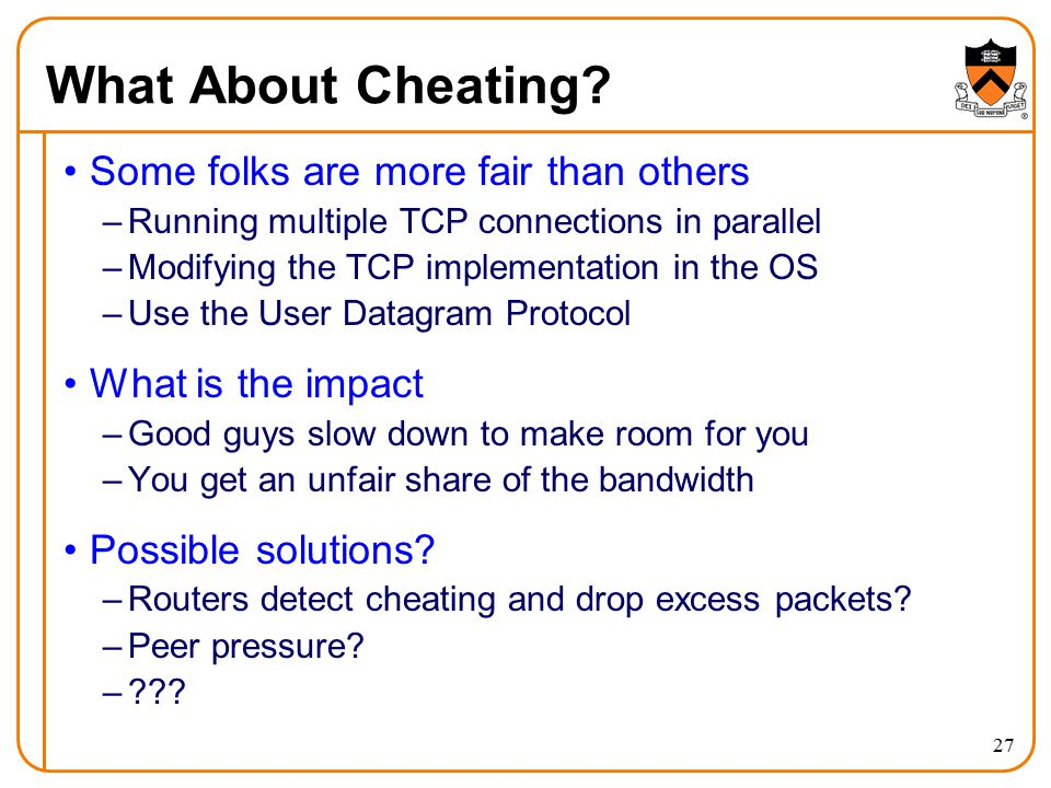 What About Cheating Some folks are more fair than others