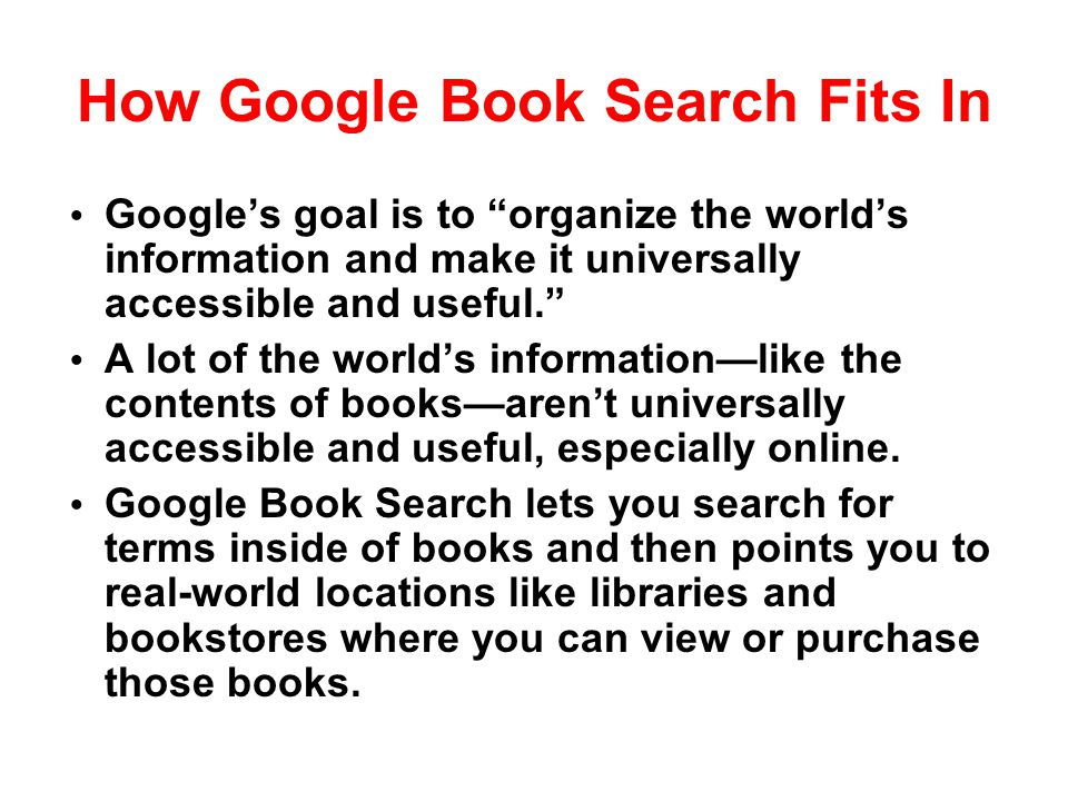 How Google Book Search Fits In