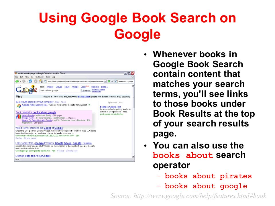 Using Google Book Search on Google