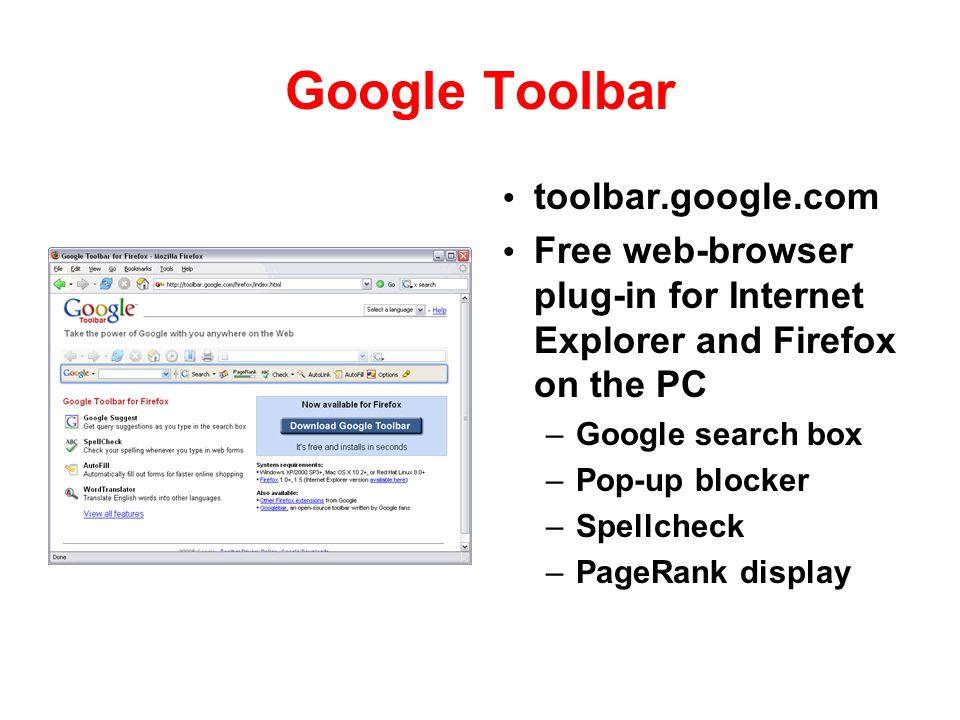 Google Toolbar toolbar.google.com