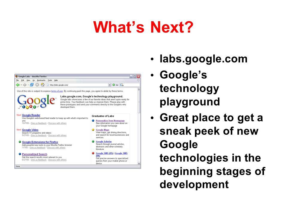What's Next labs.google.com Google's technology playground
