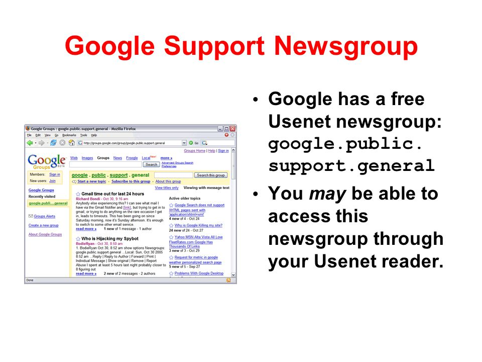 Google Support Newsgroup