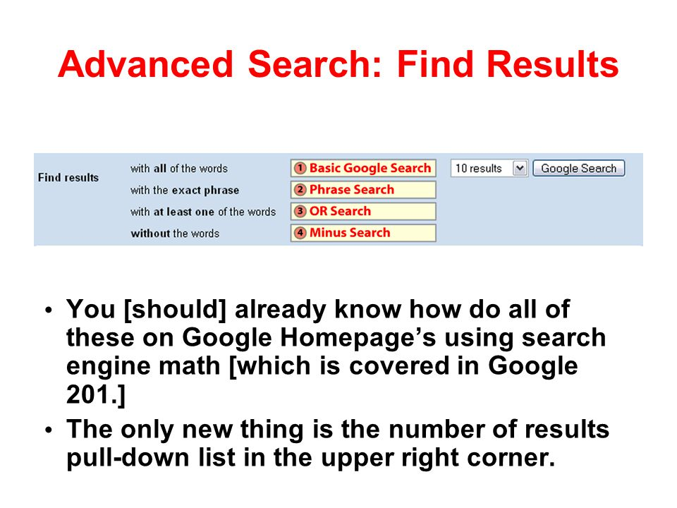 Advanced Search: Find Results