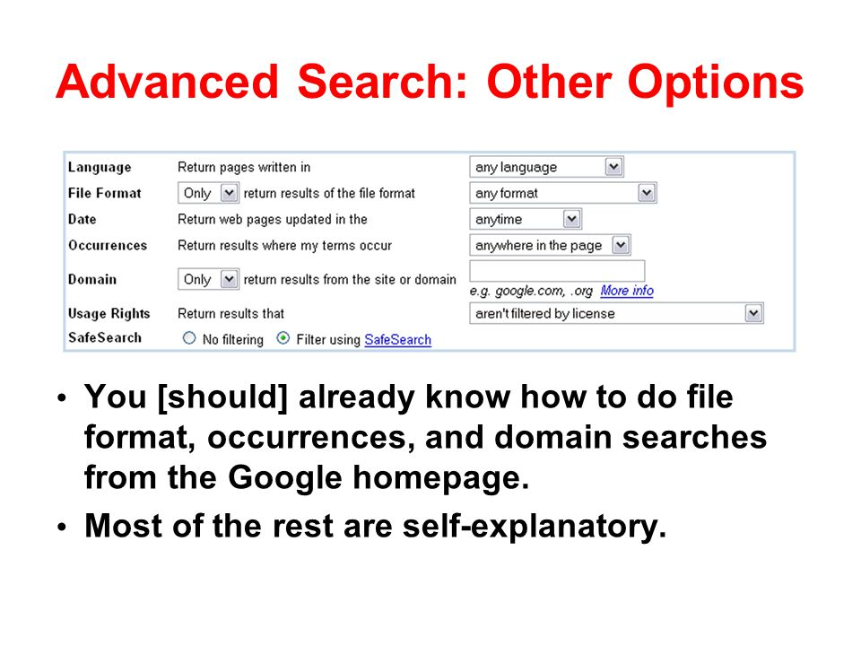 Advanced Search: Other Options