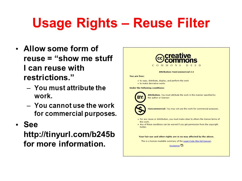 Usage Rights – Reuse Filter