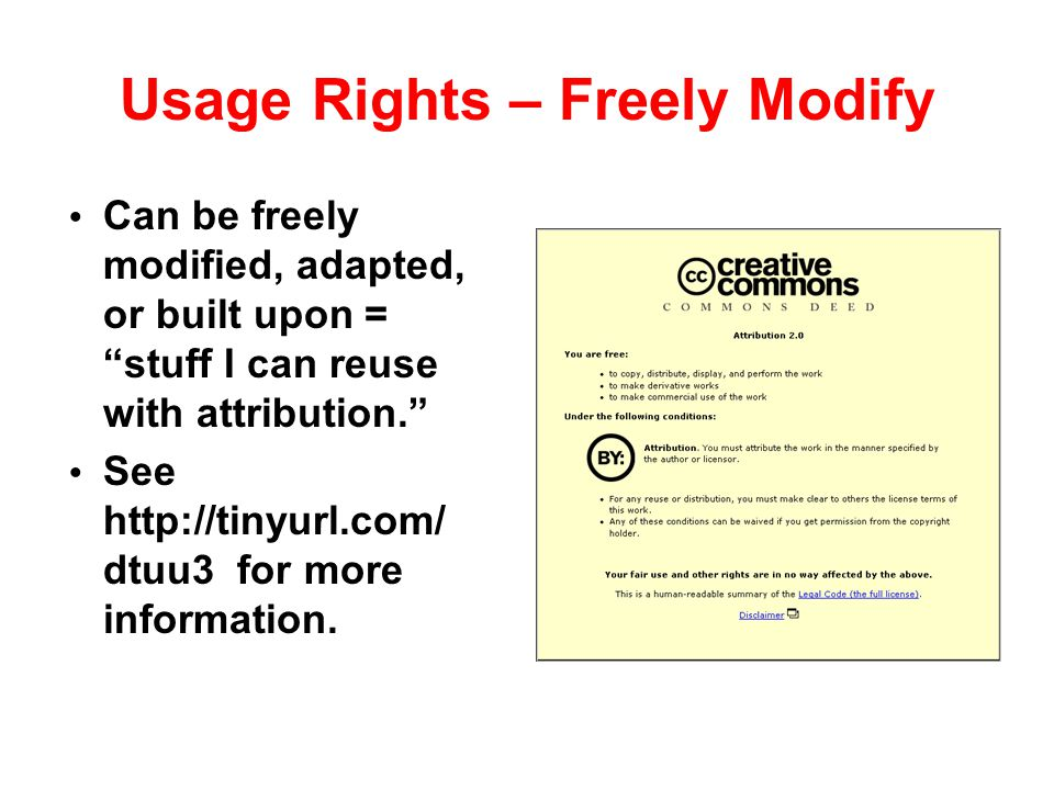 Usage Rights – Freely Modify
