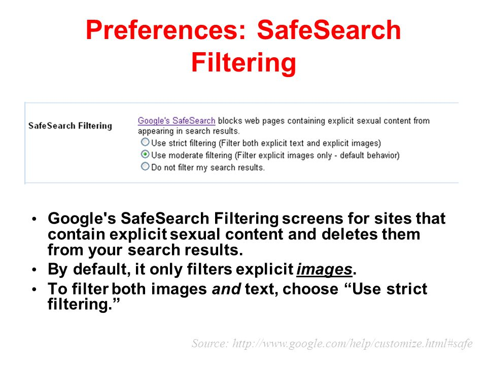 Preferences: SafeSearch Filtering