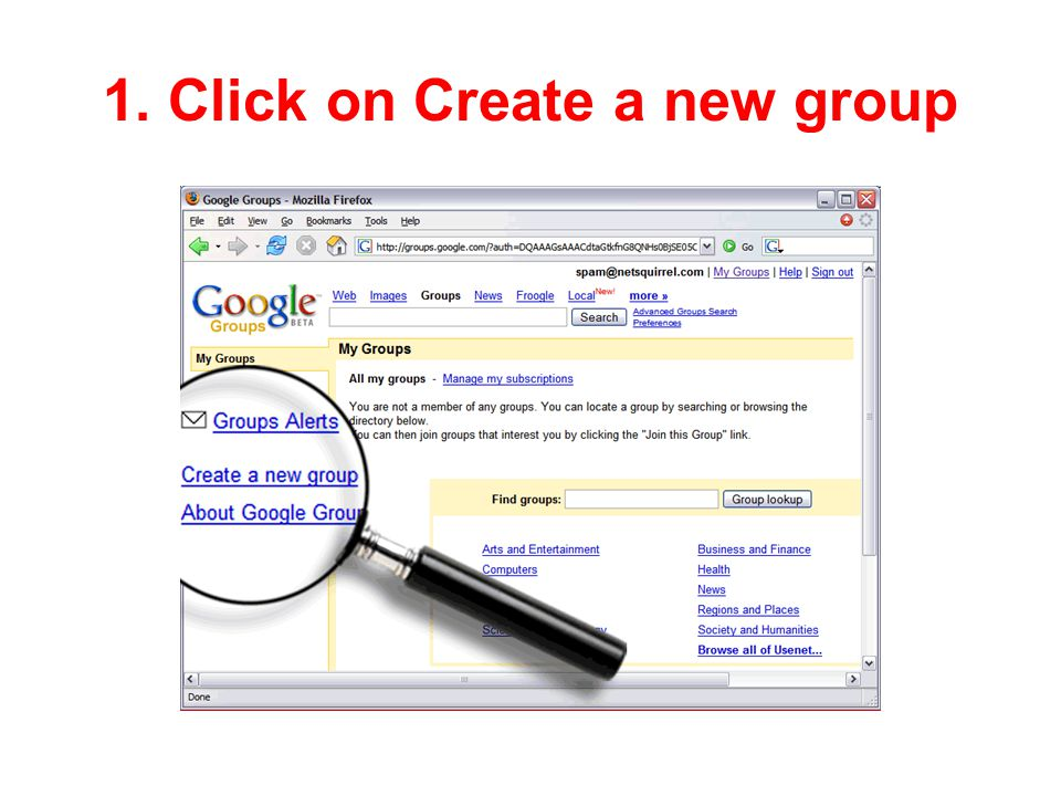 1. Click on Create a new group