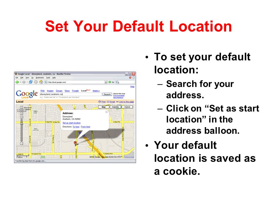 Set Your Default Location