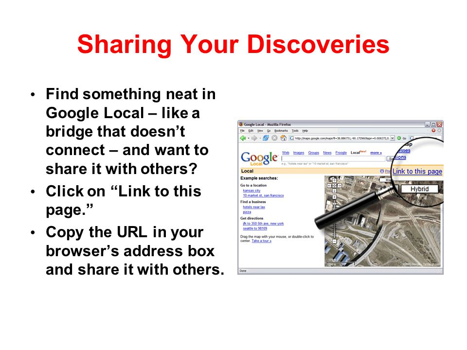 Sharing Your Discoveries
