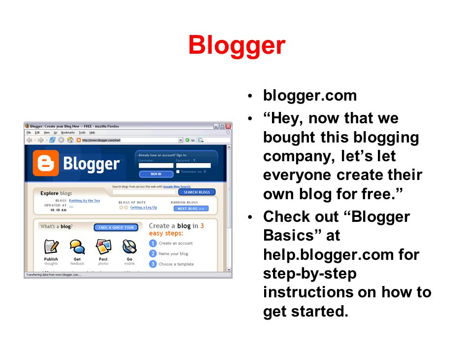 Blogger blogger.com. Hey, now that we bought this blogging company, let's let everyone create their own blog for free.