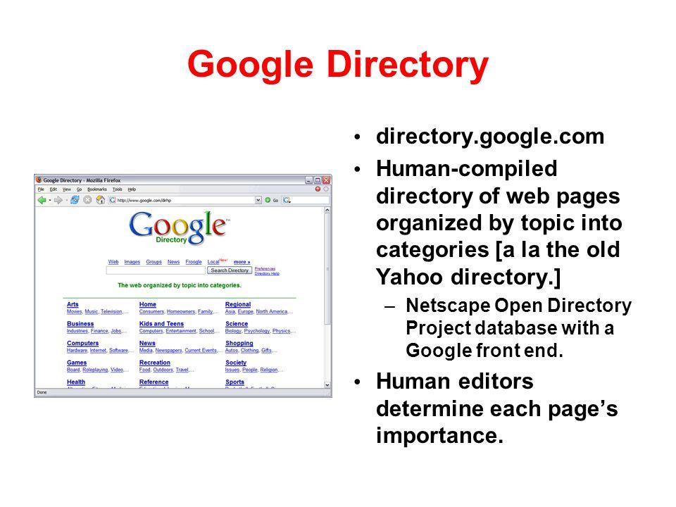 Google Directory directory.google.com