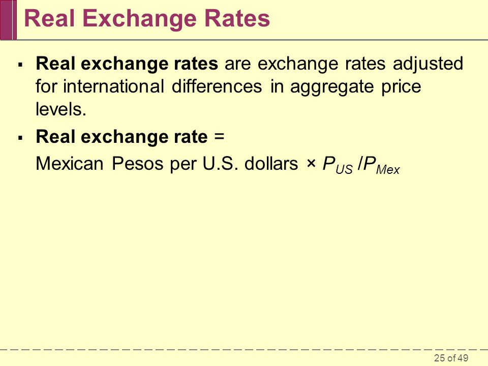Real Exchange Rates Real exchange rates are exchange rates adjusted for international differences in aggregate price levels.