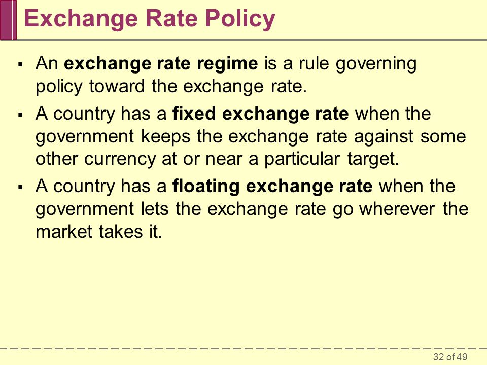 Exchange Rate Policy An exchange rate regime is a rule governing policy toward the exchange rate.