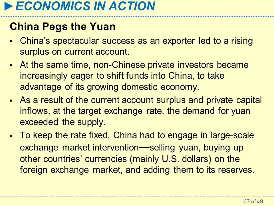 China Pegs the Yuan China's spectacular success as an exporter led to a rising surplus on current account.