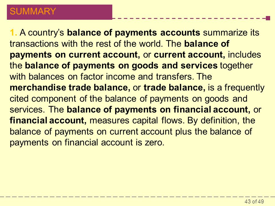1. A country's balance of payments accounts summarize its transactions with the rest of the world.