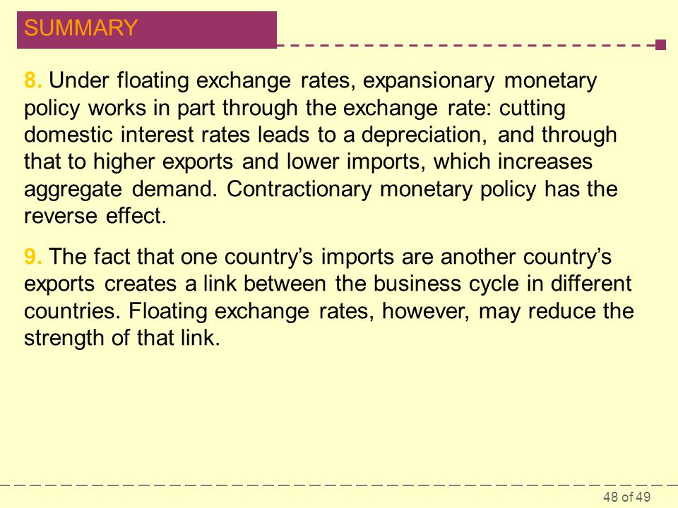 8. Under floating exchange rates, expansionary monetary policy works in part through the exchange rate: cutting domestic interest rates leads to a depreciation, and through that to higher exports and lower imports, which increases aggregate demand. Contractionary monetary policy has the reverse effect.