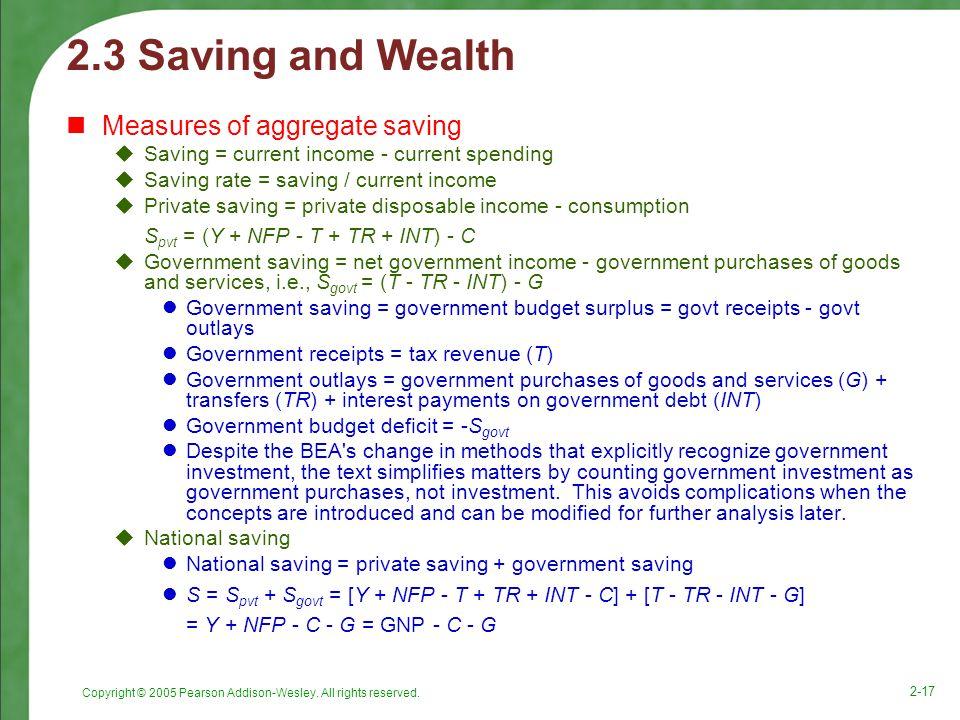 2.3 Saving and Wealth Measures of aggregate saving