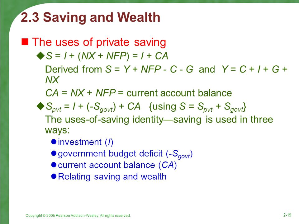 2.3 Saving and Wealth The uses of private saving