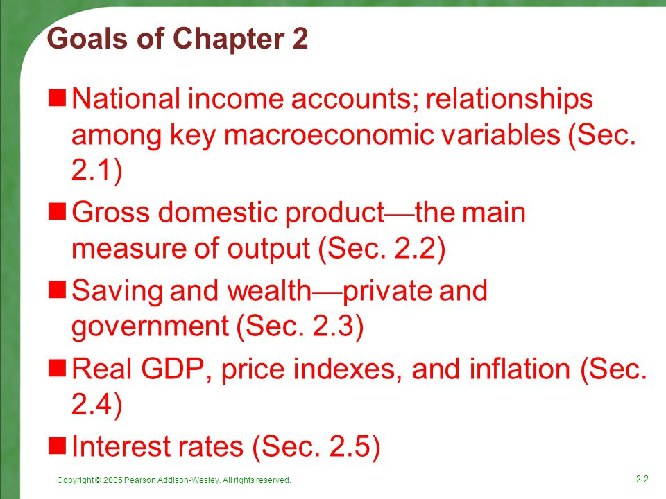 Gross domestic product—the main measure of output (Sec. 2.2)