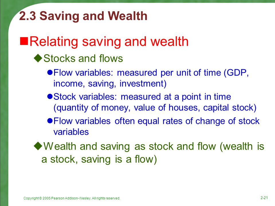Relating saving and wealth