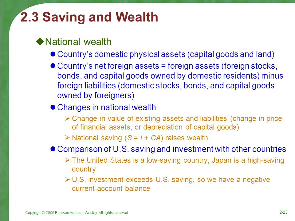 2.3 Saving and Wealth National wealth