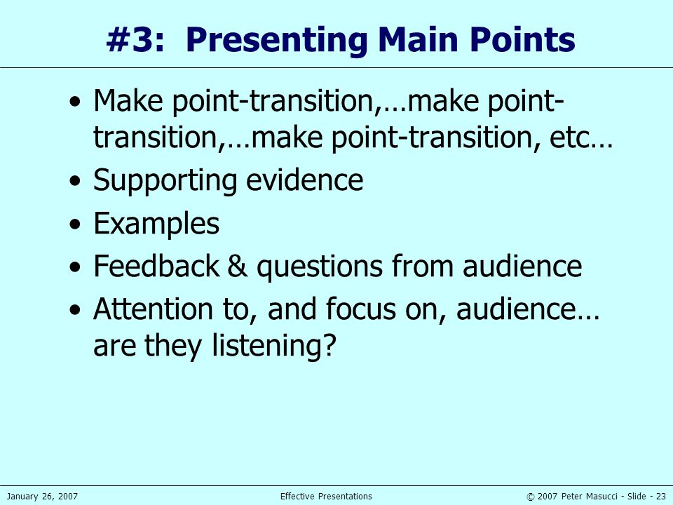 #3: Presenting Main Points