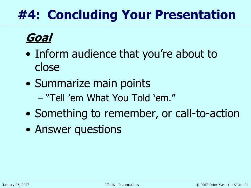 #4: Concluding Your Presentation