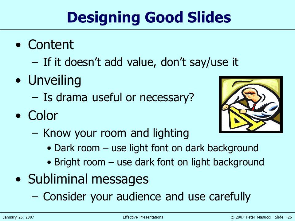 Designing Good Slides Content Unveiling Color Subliminal messages