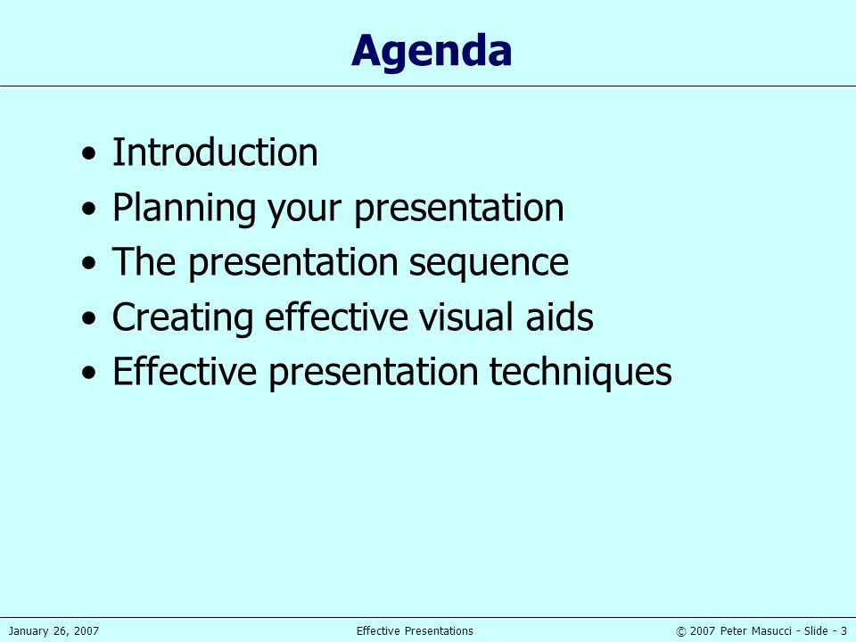 Agenda Introduction Planning your presentation