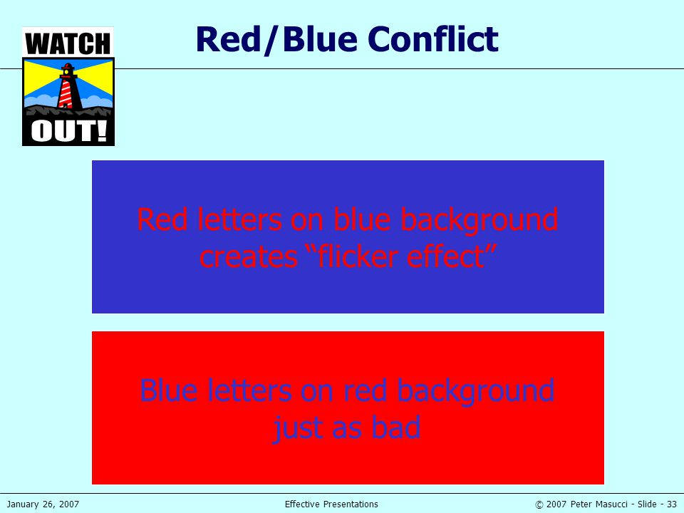 Red/Blue Conflict Red letters on blue background