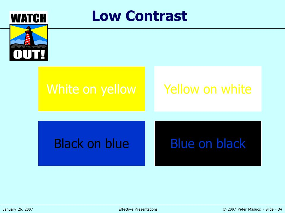 Low Contrast White on yellow Yellow on white Black on blue