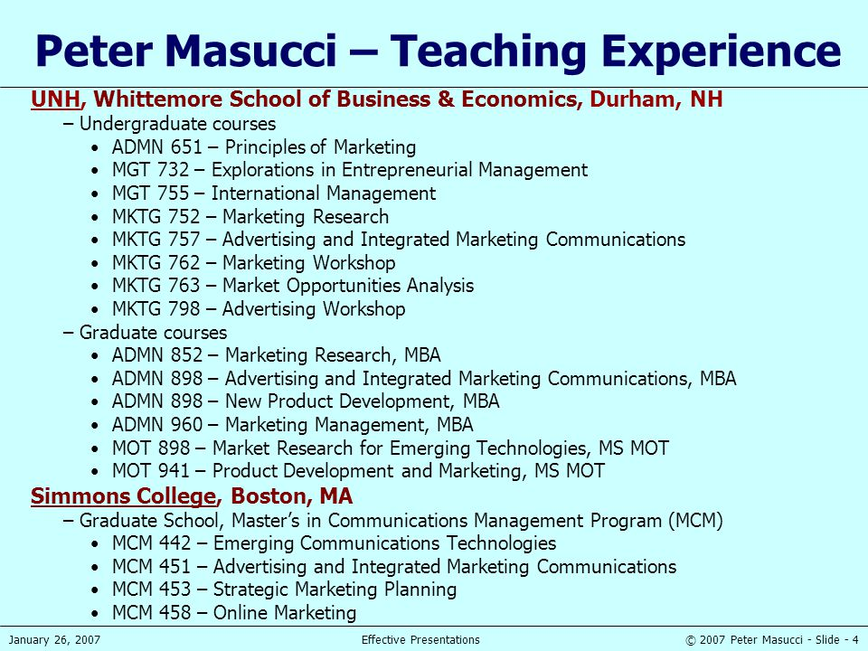 Peter Masucci – Teaching Experience