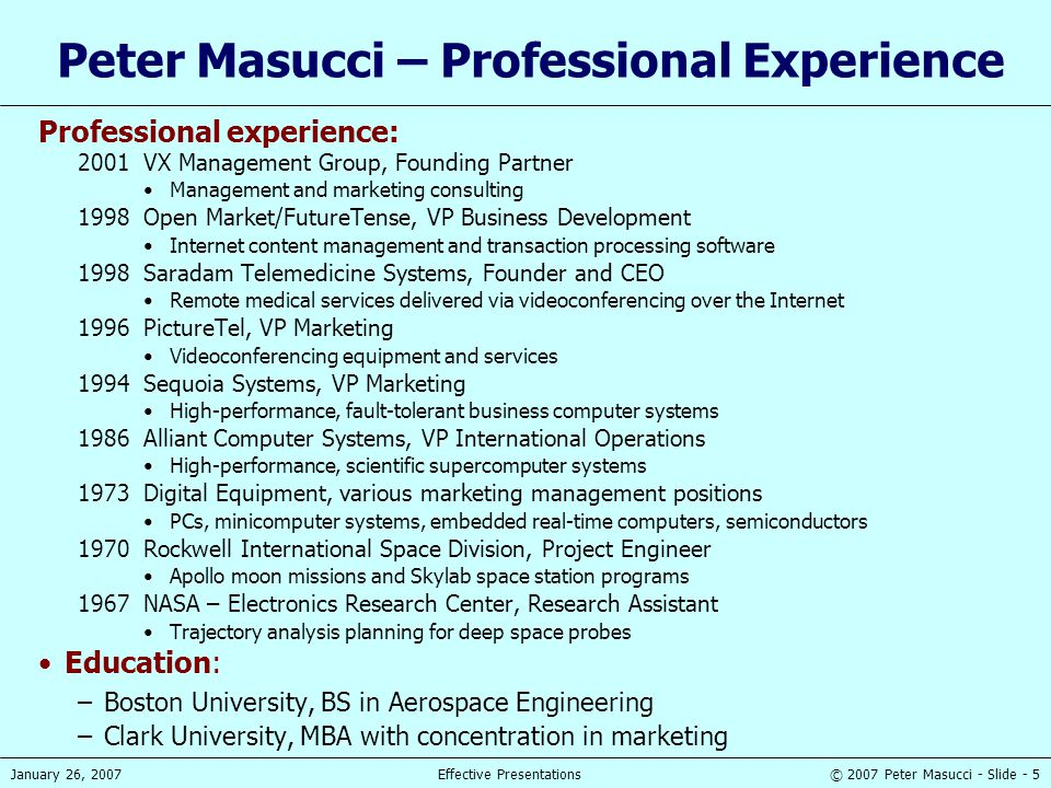 Peter Masucci – Professional Experience