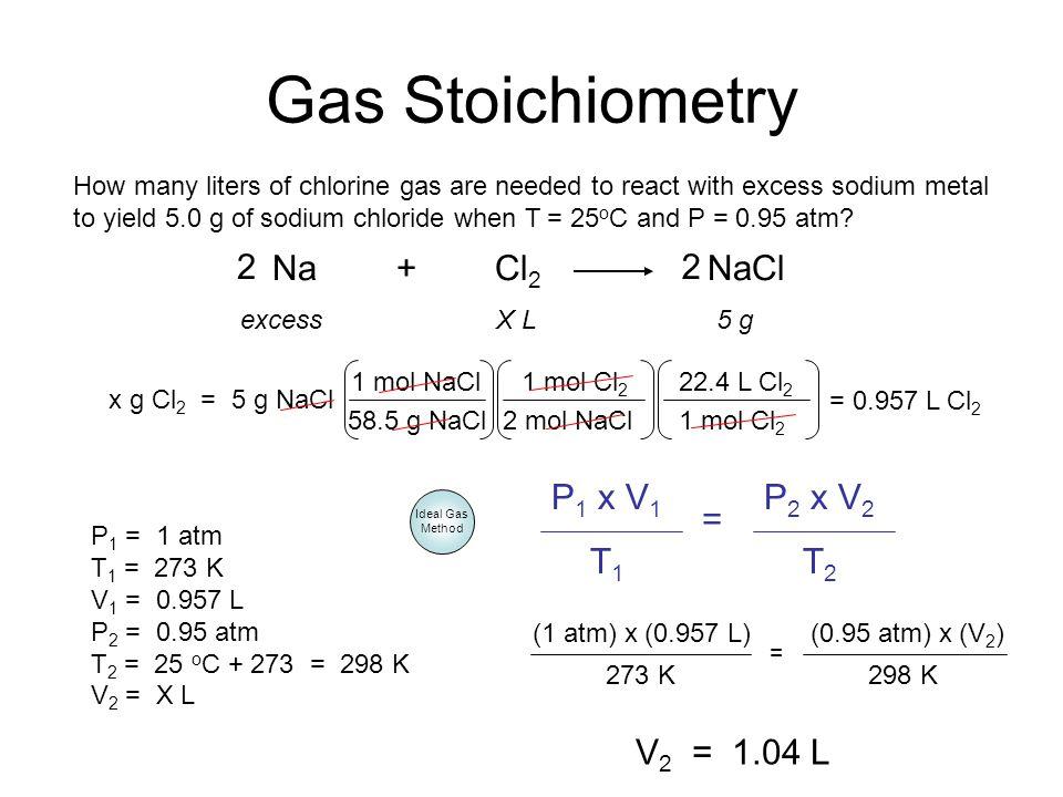 Gas Stoichiometry 2 Na + Cl2 NaCl 2 P1 x V1 T1 P2 x V2 T2 =